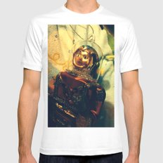 Vintage Christmas Astronaut White SMALL Mens Fitted Tee