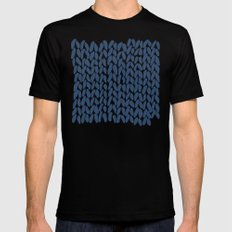 Half Knit Navy SMALL Mens Fitted Tee Black
