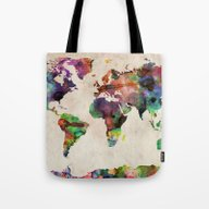 Tote Bag featuring World Map Urban Watercol… by ArtPause