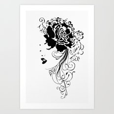 Lady black and white Art Print
