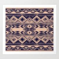 Southwest Pattern- Peach & Purple Art Print