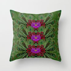 Metal Peacock In paradise Land Throw Pillow