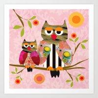 Patchwork Owls pink Art Print