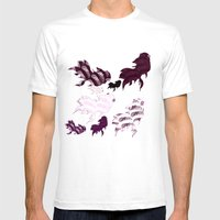 Dancing Fishes Mens Fitted Tee White SMALL