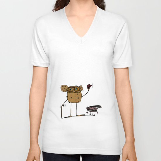 - thinking about family - V-neck T-shirt