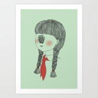 Young Pioneer - Golden Needle Mushroom Art Print