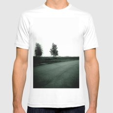 Blurry Trees SMALL Mens Fitted Tee White