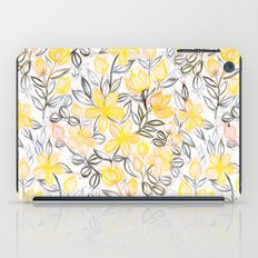 Sunny Yellow Crayon Striped Summer Floral iPad Case