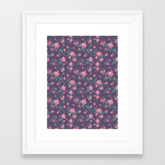 Flowers and Skulls Framed Art Print