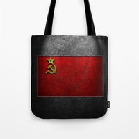 USSR Flag Stone Texture Tote Bag