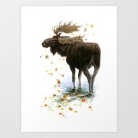 Moose Reflection Art Print
