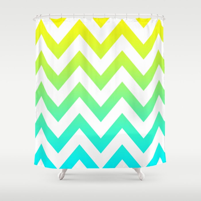 YELLOW Amp TEAL CHEVRON FADE Shower Curtain By Natalie Sales