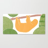 Sleepy Happy Sloth Canvas Print