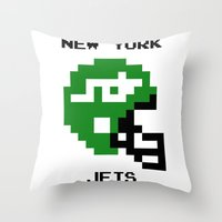 Old School New York Jets Throw Pillow