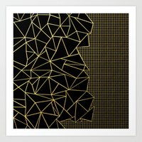 Ab Outline Grid Black and Gold Art Print