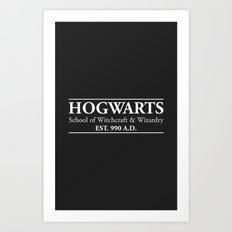 Hogwarts School of Witchcraft & Wizardry (Black) Art Print