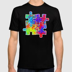 Autism Colorful Puzzle Pieces SMALL Mens Fitted Tee Black