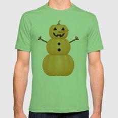 Pumpkin Snowman Mens Fitted Tee Grass SMALL