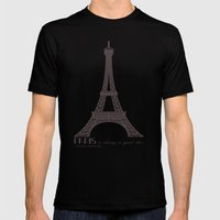 Paris is Always a Good Idea Mens Fitted Tee Black SMALL