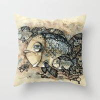 Arrogant Fish Throw Pillow