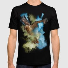 Red Tail Hawk in Clouds of Smoke Black SMALL Mens Fitted Tee