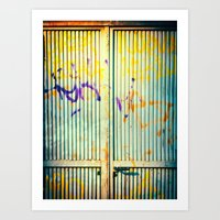 Graffiti on iron door Art Print