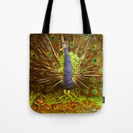 Tote Bag featuring The Peacock (The Land Of… by Andrew Sliwinski