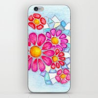 Raspberry Daisies and Icy Blue Crystals iPhone & iPod Skin