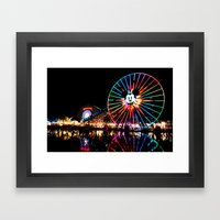 Paradise Pier At Night Framed Art Print