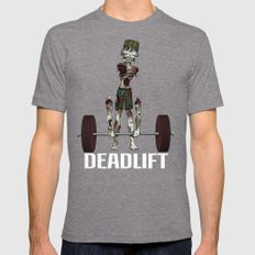 Crossfit Zombie by RonkyTonk doing Deadlift Mens Fitted Tee Tri-Grey SMALL