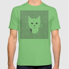 Stripe Kitty Mens Fitted Tee Grass SMALL