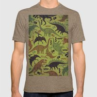 Camouflage Dinosaur Geometric Pattern Mens Fitted Tee Tri-Coffee SMALL
