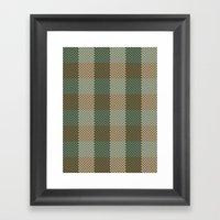 Pixel Plaid - Birch Forest Framed Art Print