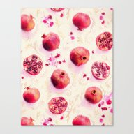 Painted Pomegranates Wit… Canvas Print