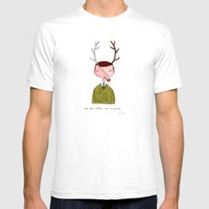 One real antler, one imagined White Mens Fitted Tee SMALL