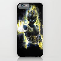iPhone Cases featuring DBZ inspired epic Vegeta portrait by Barrett Biggers