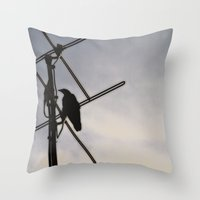 Throw Pillow featuring Ravens Perch by Karol Livote