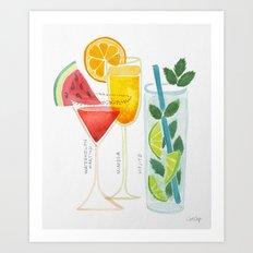 Summer Cocktail Trio Art Print