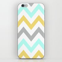 BLUE/GRAY/YELLOW CHEVRON iPhone & iPod Skin