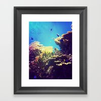 In The Big Blue World Framed Art Print