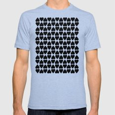 Diamond Hearts Repeat Black Mens Fitted Tee Tri-Blue SMALL