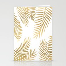Gold palm leaves Stationery Cards