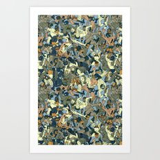 Lucha Pattern(blue&orang… Art Print