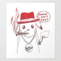 Pimp Pikachu Art Print
