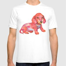 Mini Dachshund  SMALL Mens Fitted Tee White
