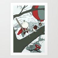 Todd Climbs a Tree Art Print