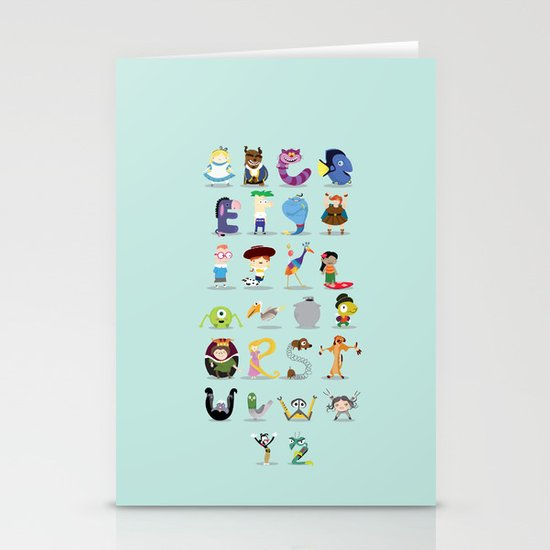 Animated characters abc Stationery Card