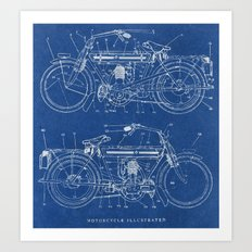Motorcycle Blueprint Art Print