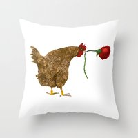 Chicken With Rose Throw Pillow