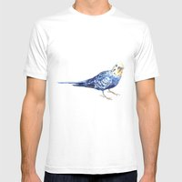Blueberry The Budgie Mens Fitted Tee White SMALL